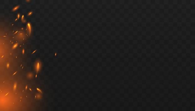 Czerwony ogień iskrzy wektor latający w górę. palenie świecących cząstek. efekt światła czerwonego i żółtego. pojęcie iskier, płomienia i światła.