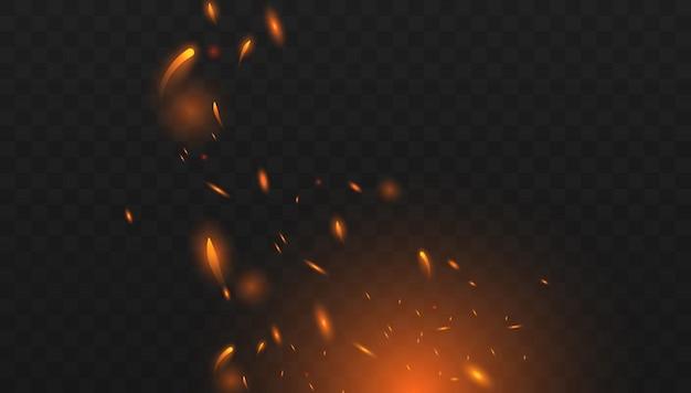 Czerwony ogień iskrzy wektor latający w górę. palenie świecących cząstek.