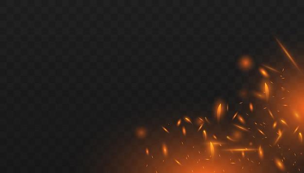 Czerwony ogień iskrzy wektor latający w górę. realistyczny efekt izolowanego ognia z dymem do dekoracji i przykrycia na przezroczystym.