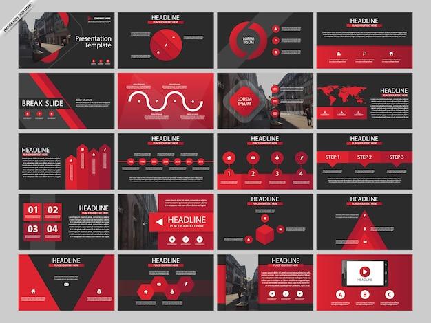 Czerwony pakiet presentaion infographic szablonów