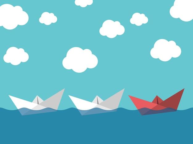 Czerwony papier łódź prowadzi białe żeglarstwo w morzu na tle błękitnego nieba. koncepcja przywództwa, sukcesu, pracy zespołowej i zarządzania. ilustracja wektorowa eps 10, używana przezroczystość