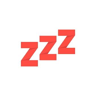 Czerwony papier wykonany znak chrapania. pojęcie dobranoc, żeton, wyrażenie, wiadomość, czuwanie, senność, drzemka. na białym tle. płaski trend w nowoczesnym stylu projektowania ilustracji wektorowych
