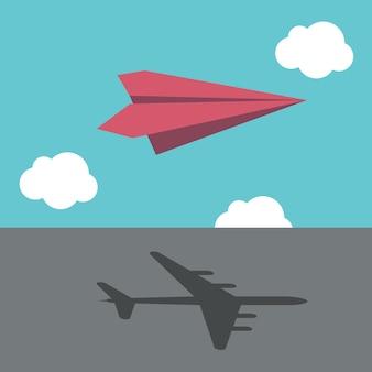 Czerwony papierowy samolot rzucający cień wielkiego prawdziwego samolotu. sukces w biznesie, wizja, ambicja, motywacja i koncepcja marzeń. ilustracja wektorowa eps 8, bez przezroczystości