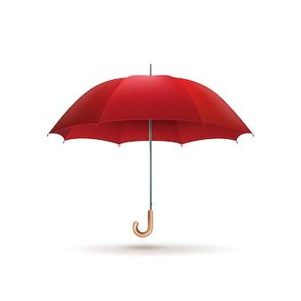 Czerwony parasol na białym tle.