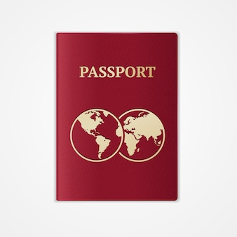 Czerwony paszport międzynarodowy z mapą na białym tle.