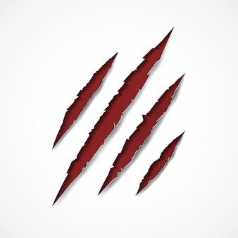 Czerwony pazur rysy na białym tle.