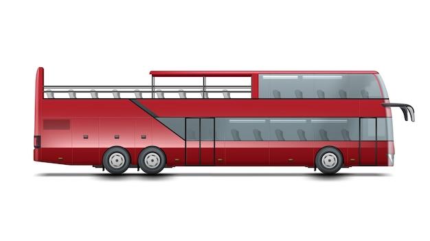Czerwony piętrowy autobus z otwartym dachem do zwiedzania lub zwiedzania miasta. na białym tle