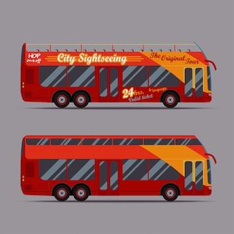 Czerwony piętrowy autobus