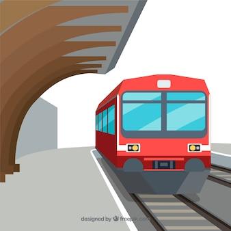 Czerwony pociąg tło w stacji w płaskim stylu