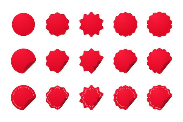 Czerwony podstawowy kształt na nowe naklejki produktowe etykieta z ofertą specjalną