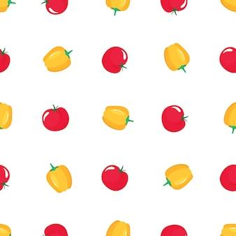 Czerwony pomidor i papryka wzór. ekologiczne jedzenie wegetariańskie. stosowany do projektowania powierzchni, tkanin, tekstyliów, papieru opakowaniowego.