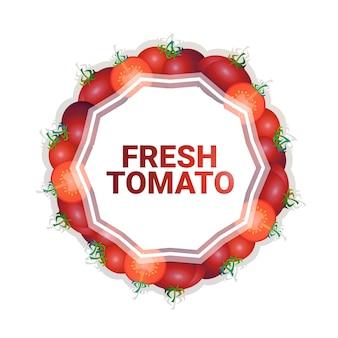 Czerwony pomidorowy warzywo kolorowy koło kopii przestrzeni organicznie nad bielu wzoru tła zdrowym stylem życia lub diety pojęciem