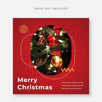 Czerwony post media społecznościowy świąteczny szablon instagram