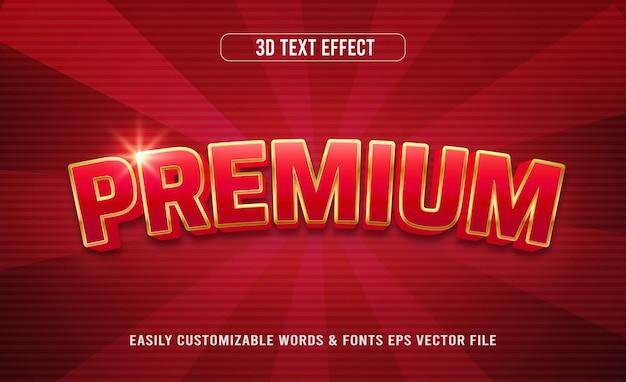 Czerwony premium złoty styl 3d edytowalnego efektu tekstowego