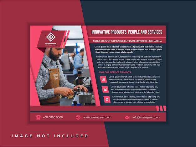 Czerwony projekt szablonu ulotki z przykładowym nagłówkiem to innowacyjne produkty, ludzie i usługi