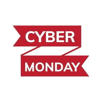 Czerwony promocyjny wektor poniedziałek cyber