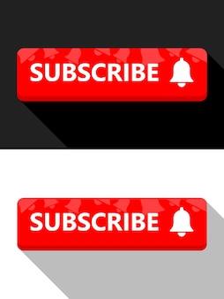 Czerwony przycisk subskrybuj ilustracja przycisku dzwonka mediów społecznościowych