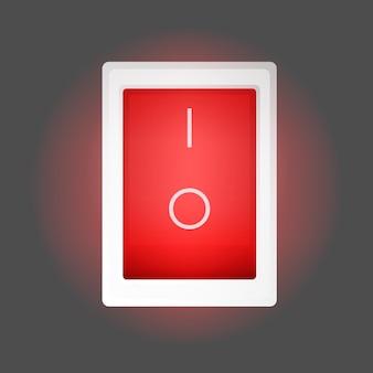 Czerwony przycisk włączania i wyłączania. zaświeci się czerwony przycisk zasilania. odosobniony. wektor.