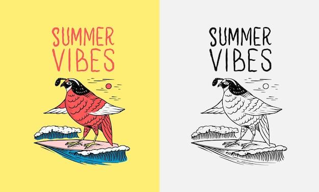 Czerwony ptak na desce surfingowej godło surfing znak lato surfowania vintage grawerowane godło ręcznie rysowane plakat lub