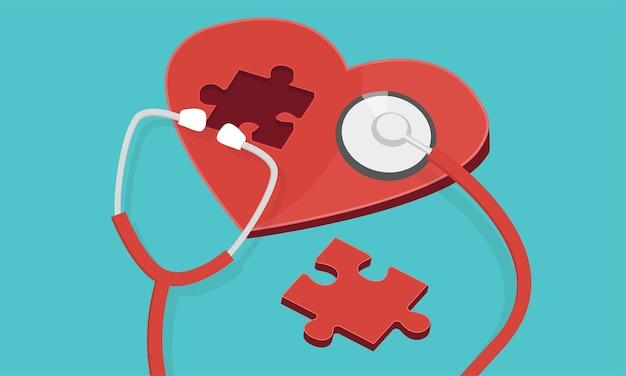 Czerwony puzzle serce z stetoskop na białym tle niebieski. ikona medycyny i opieki zdrowotnej. ilustracja wektorowa płaski.