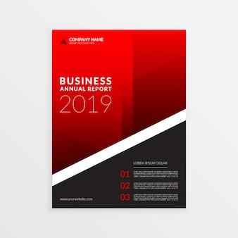 Czerwony raport roczny biznes szablon ulotki