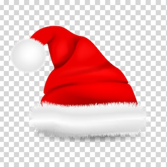 Czerwony realistyczny kapelusz świętego mikołaja