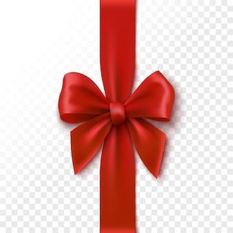 Czerwony realistyczny łuk świąteczna wstążka do pakowania ilustracji pudełka na prezent