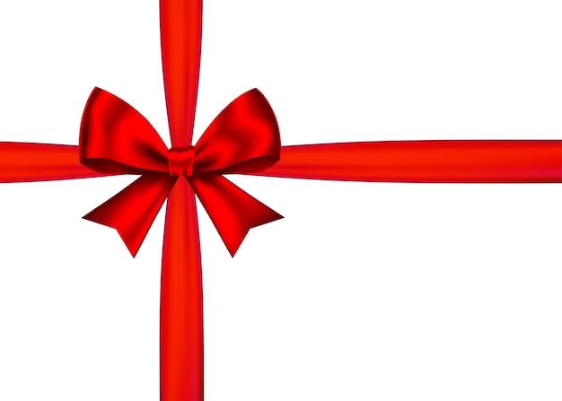 Czerwony realistyczny prezent łuk z poziomą wstążką na białym tle