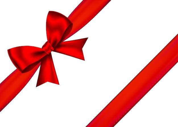 Czerwony realistyczny prezent łuk z poziomą wstążką