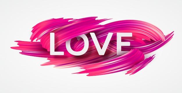 Czerwony ręcznie rysowane rozmaz farby miłość letterin