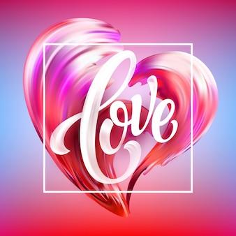 Czerwony ręcznie rysowane rozmaz farby napis miłość