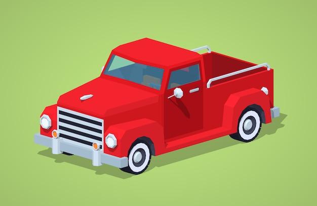 Czerwony retro izometryczny pickup 3d
