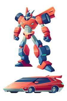 Czerwony robot bojowy zdolny do transformacji w kreskówce samochodu sportowego