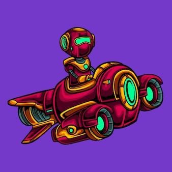 Czerwony robot lecący na latającym statku kosmicznym