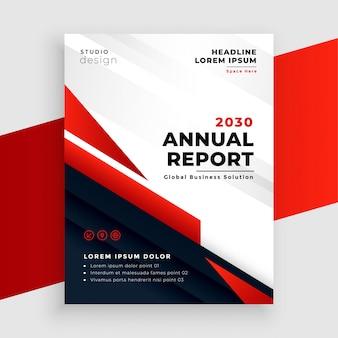 Czerwony roczny raport lub szablon projektu ulotki biznesowej