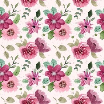 Czerwony różowy kwiatowy akwarela bezszwowe wzór