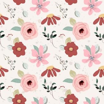 Czerwony różowy kwiatowy ogród wzór