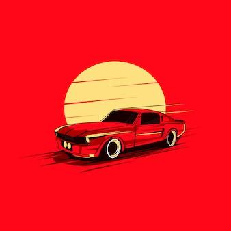 Czerwony samochód i księżyc
