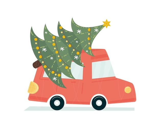 Czerwony samochód jeździ ozdobną choinką. ładny naiwny nadruk. święta nowego roku. modny design do druku, tkaniny, wystroju, opakowania na prezent. ilustracja wektorowa, doodle