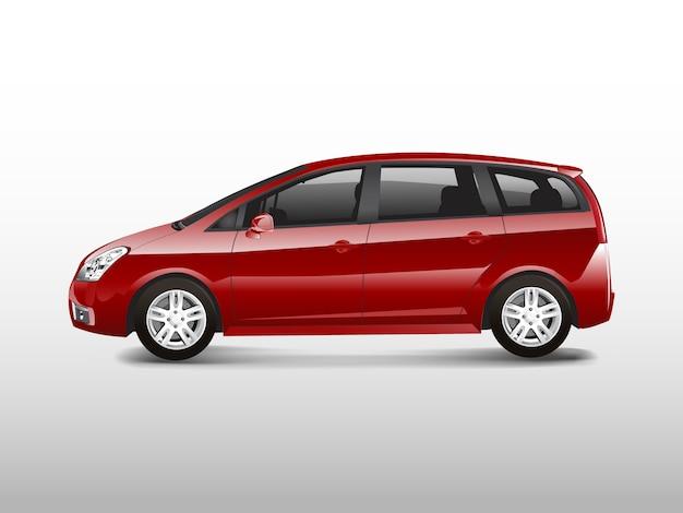 Czerwony samochód minivan mpv wektor