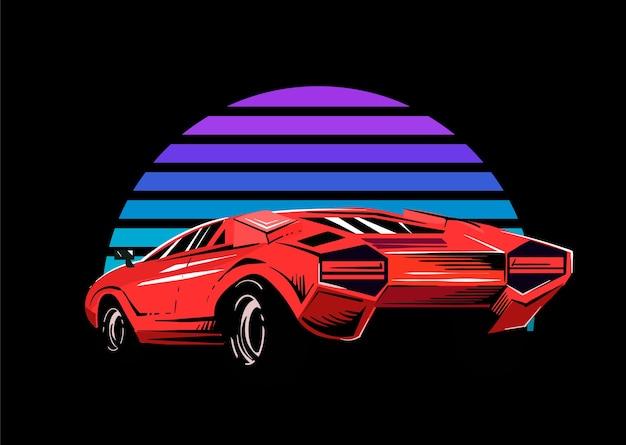 Czerwony samochód sportowy na tle pasiastej fali retro słońca. ilustracja wektorowa w stylu lat 80-tych.