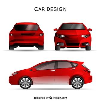 Czerwony samochód w różnych widokach