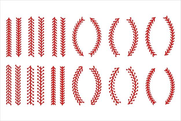 Czerwony ścieg lub szwy w baseballu izolowane.