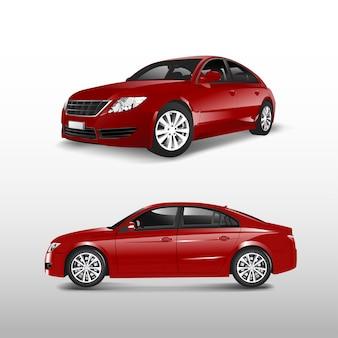Czerwony sedan samochód odizolowywający na białym wektorze