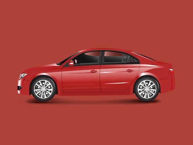 Czerwony sedan samochód w czerwonym tło wektorze