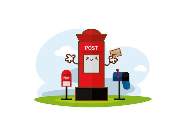 Czerwony skrzynka pocztowa z pionowym skrzynką pocztową