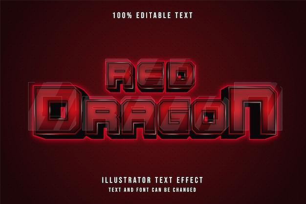 Czerwony smok, edytowalny efekt tekstowy 3d.