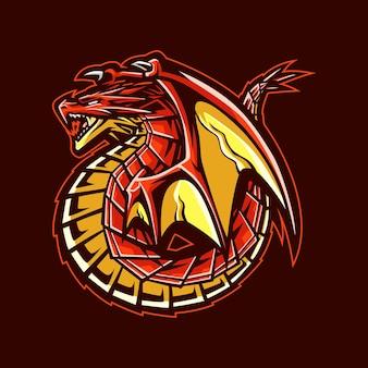 Czerwony smok maskotka ilustracja logo