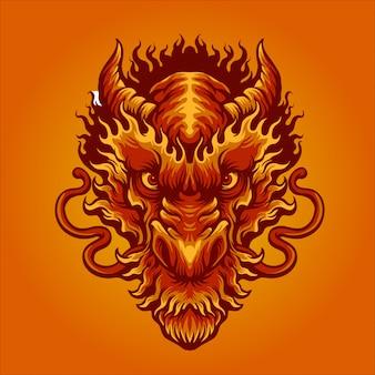 Czerwony smok ognia