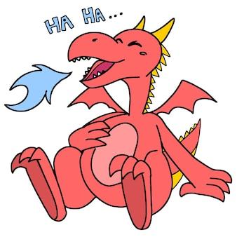 Czerwony smok śmiał się głośno. kreskówka ilustracja naklejka maskotka emotikon